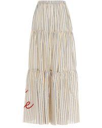 Giada Benincasa Long Striped Skirt With Embroidered Logo - White