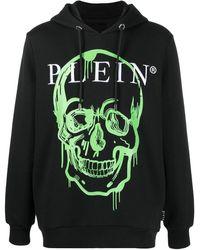 Philipp Plein Crystal-embellished Skull Print Hoodie - Black