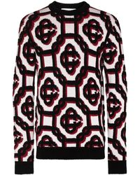 CASABLANCA 3d Monogram Intarsia Sweater - White