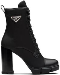 Prada - Black Leather And Nylon Fabric Booties - Lyst