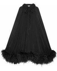 Saint Laurent Mantella lunga nera in mussola di crêpe di seta e piume di struzzo - Nero