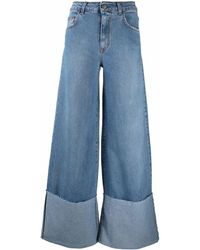 FEDERICA TOSI High-waisted Jeans With Wide Legs And Inverted Hems - Blue
