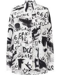Dolce & Gabbana Camicia bianca con stampa graffiti - Bianco