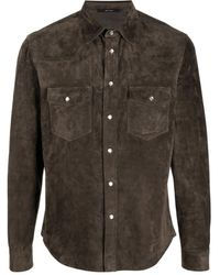 Tom Ford Brown Cashmere Suede Western Shirt