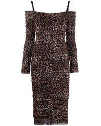 Blumarine Leopard Print Off-shoulder Dress - Brown