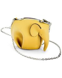 Loewe Yellow Elephant Pouch In Classic Calfskin