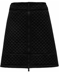 Moncler Black Quilted Mini Skirt With Zipper
