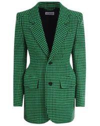 Balenciaga Houndstooth Wool Blend Single-breasted Blazer - Green