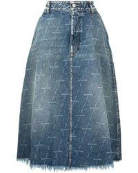 Balenciaga Distressed Denim Midi Skirt - Blue