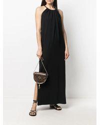 Nude Halter Neck Dress - Black
