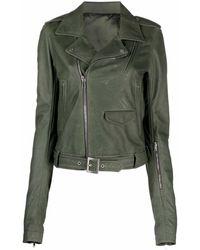 Rick Owens Green Leather Lukes Biker Jacket