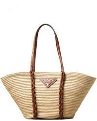 Prada Beige Raffia Tote Bag With Logo - Natural