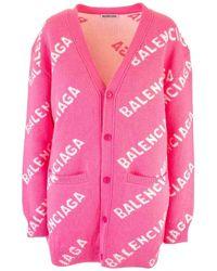 Balenciaga Allover Logo Cardigan - Pink