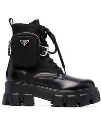 Prada Black Brushed Rois Leather And Nylon Monolith Boots