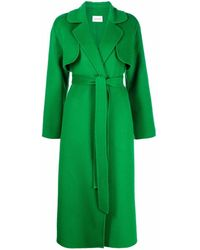 P.A.R.O.S.H. Cappotto midi con cintura verde