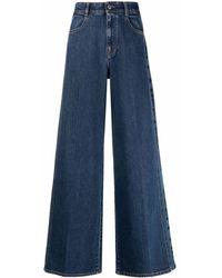 Stella McCartney Logo Wide Leg Jeans - Blue