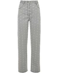 Givenchy - Denim Effect Straight Cut Pants With 4g Motif - Lyst