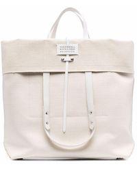 Maison Margiela Beige Logo Fold-over Tote Bag - Natural