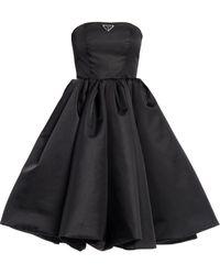 Prada Black Corset Dress In Re-nylon Gabardine