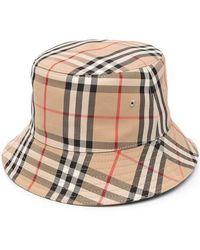 Burberry Vintage Check Cotton Blend Bucket Hat - Natural
