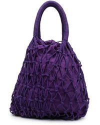 P.A.R.O.S.H. Purple Samy Handbag In Braided Fabric
