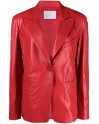 DROMe Single-breasted Leather Blazer - Red