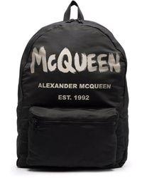 Alexander McQueen Black Mcqueen Graffiti Oversized Backpack