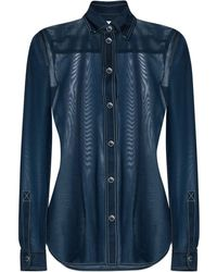 Burberry Camicia blu in jersey stretch trasparente con colletto button-down