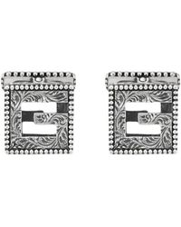 4760d2b1e8eb Gucci - Cufflinks With Square G In Silver - Lyst