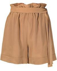 FEDERICA TOSI High-waisted Beige Shorts - Natural