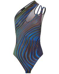 Mugler Printed Asymmetric Bodysuit - Blue