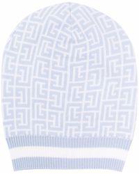 Balmain Monogram-pattern Beanie - Blue