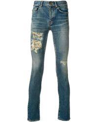 Saint Laurent Ripped-detail Skinny Jeans - Blue