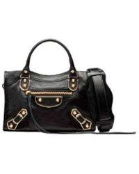 Balenciaga Mini borsa a tracolla Metallic Edge City - Nero