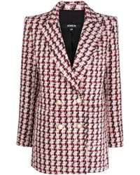 Amen Double-breasted Tweed Blazer - Red