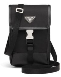 Prada Black Re-nylon And Saffiano Leather Smartphone Case