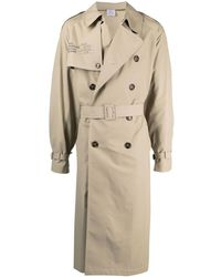 Vetements Beige Double-breasted Belted Trench Coat - Natural