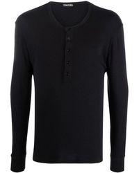 Tom Ford Black Button Placket Round Neck T-shirt