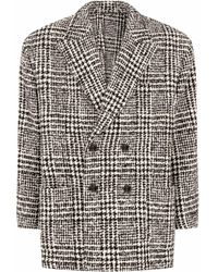 Dolce & Gabbana Houndstooth-check Double-breasted Coat - White