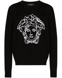 Versace Embroidered Medusa Wool Jumper - Black