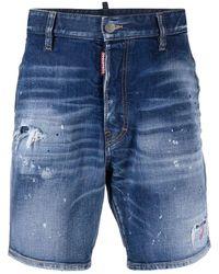 DSquared² Knee-length Denim Shorts - Blue