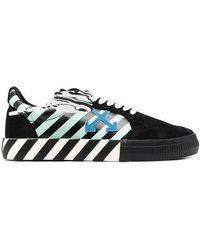 Off-White c/o Virgil Abloh - Black Vulcanized Diagonal Print Low-top Sneakers - Lyst
