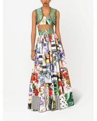 Dolce & Gabbana Patchwork Poplin Bustier Top - Multicolour