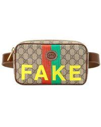 Gucci Porta cosmetici con stampa 'Fake/Not' - Neutro