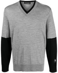 Neil Barrett Colour Block Design Jumper - Grey