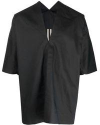 Rick Owens Camicia nera con scollo a V e maniche corte - Nero