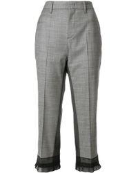 Prada - Sheer Panel Cropped Trousers - Lyst