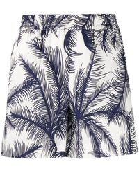 P.A.R.O.S.H. Pantaloncini bianchi e blu con stampa palme