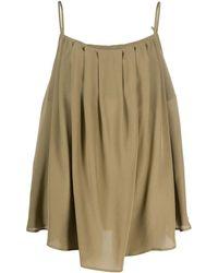 FEDERICA TOSI Draped Camisole Green Silk Top