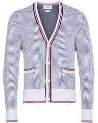 Thom Browne - Seersucker Jacquard Button Front Cardigan - Lyst